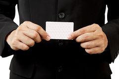 Business man holding blank business card Royalty Free Stock Image