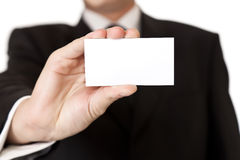 Business man holding blank businesscard Royalty Free Stock Photos