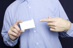 Business man holding blank card Royalty Free Stock Photo