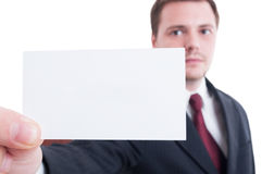 Business man holding blank card with selective focus Stock Photo