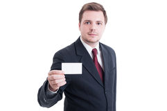 Business man holding blank empty card with copy space Royalty Free Stock Photos