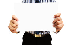 A business man holding blank paper Royalty Free Stock Photography