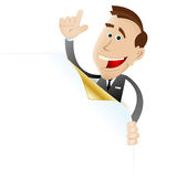 Business man holding blank sign showing something royalty free stock images