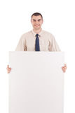 Business man holding blank signboard Royalty Free Stock Image