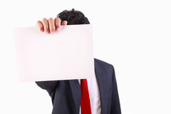 Business man holding blank white card Stock Image