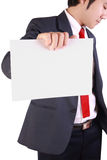 Business man holding blank white card Stock Images