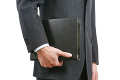 Business man holding book Stock Photo