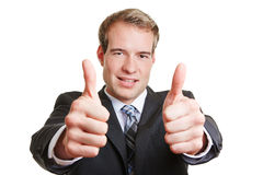 Business man holding both thumbs up Stock Image