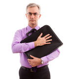Business man holding briefcase Royalty Free Stock Photos