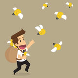 Business man holding bulb idea that fly, brainstormt. Business man holding bulb idea that fly, brainstorm. vector stock illustration
