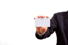Business man holding card Stock Photography