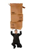 Business man holding cardboard boxes Royalty Free Stock Image