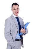 Business man holding clipboard Stock Images