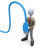 Business Man Holding A Computer Cable Royalty Free Stock Photo