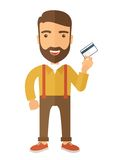 Business man holding credit card Stock Images