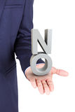 Business man holding a 3d word no in hand palm Stock Image