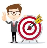Business man holding a dart board with a direct hit on target. Cartoon business man holding a dart board with a direct hit on target. Concept of personal Royalty Free Stock Photos