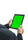 Business man holding digital tablet royalty free stock photo