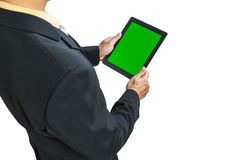 Business man holding digital tablet Stock Photo