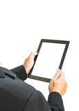 Business man holding digital tablet, blank screen on white backg Stock Photography