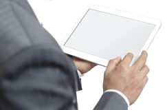 Business man holding digital tablet with blank screen Royalty Free Stock Image