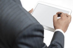 Business man holding digital tablet with blank screen Stock Photo