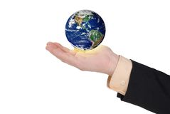 Business man holding earth in his hand Royalty Free Stock Photos