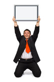 Business man holding empty board Stock Image