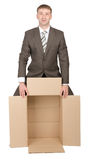 Business man holding empty box Royalty Free Stock Photography