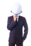 Business man holding engineer helmet isoleted Royalty Free Stock Image