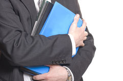 Business man holding files and folders Stock Photos