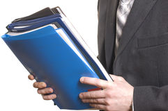Business man holding files and folders Stock Images