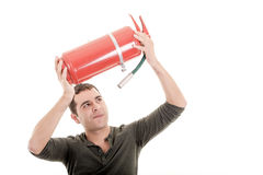 Business man holding fire extinguisher with empty Royalty Free Stock Photos