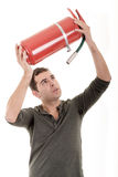 Business man holding fire extinguisher with empty Stock Photos