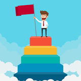 Business man holding a flag on staircase. Success concept. Royalty Free Stock Photo