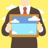 Business man holding frame with clouds pictures. Metaphor like presentation royalty free illustration