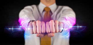 Business man holding future technology data system network. Concept Royalty Free Stock Photos