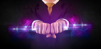 Business man holding future technology data system network Royalty Free Stock Image