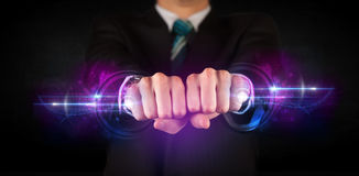 Business man holding future technology data system network Stock Photo