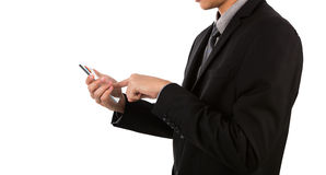 Business man holding glass transparent mobile Stock Images