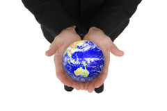 Business Man Holding Globe Royalty Free Stock Images