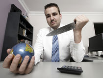 Business man holding a globe Royalty Free Stock Images