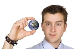 Business man holding globe Stock Image