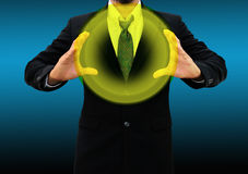 Business man holding  glowing ball Stock Photos