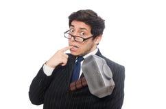 Business man holding hammer isolated on white Stock Image