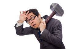 Business man holding hammer isolated on white Royalty Free Stock Images