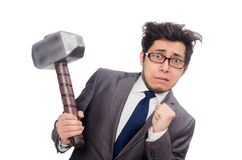 Business man holding hammer isolated on white Stock Photos