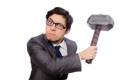 Business man holding hammer isolated on the white Stock Images