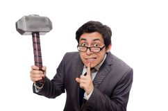 Business man holding hammer isolated on the white Stock Image