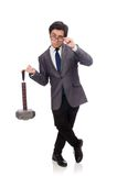 Business man holding hammer isolated on the white Royalty Free Stock Photography